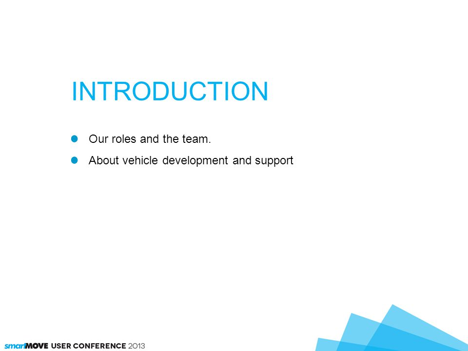Our roles and the team. About vehicle development and support INTRODUCTION