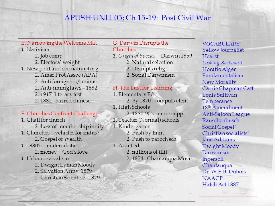 APUSH UNIT 05; Ch 15-19: Post Civil War VOCABULARY Yellow Journalist Hearst Looking Backward Horatio Alger Fundamentalism New Morality Carrie Chapman
