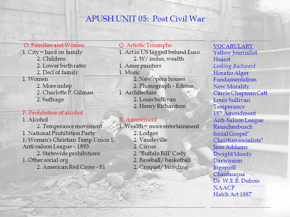APUSH UNIT 05: Post Civil War VOCABULARY Yellow Journalist Hearst Looking Backward Horatio Alger Fundamentalism New Morality Carrie Chapman Catt Louis