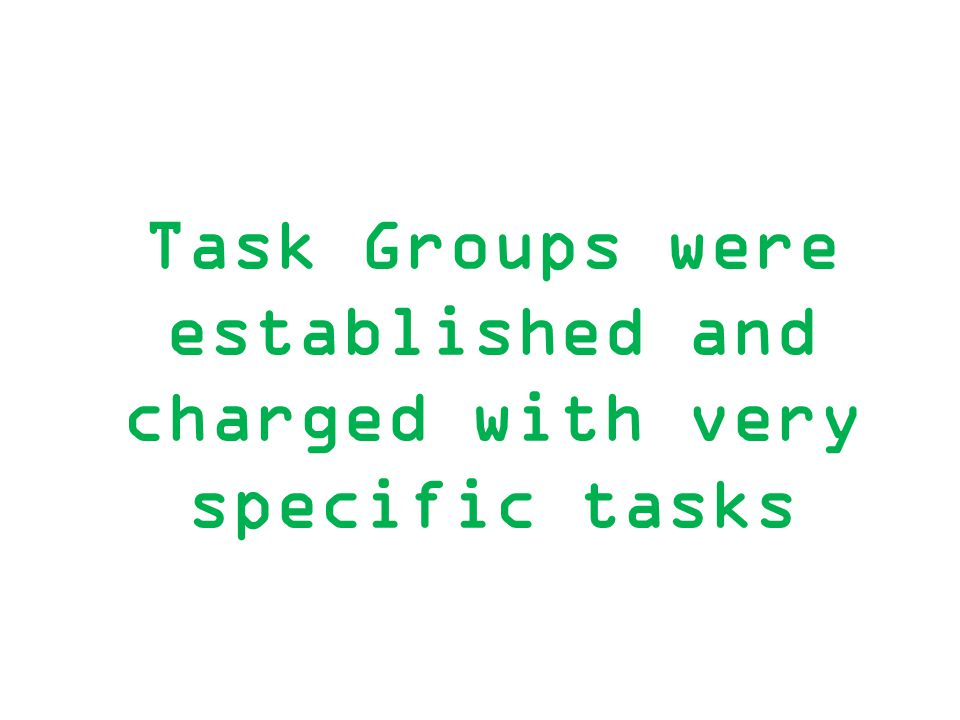 Task Groups were established and charged with very specific tasks