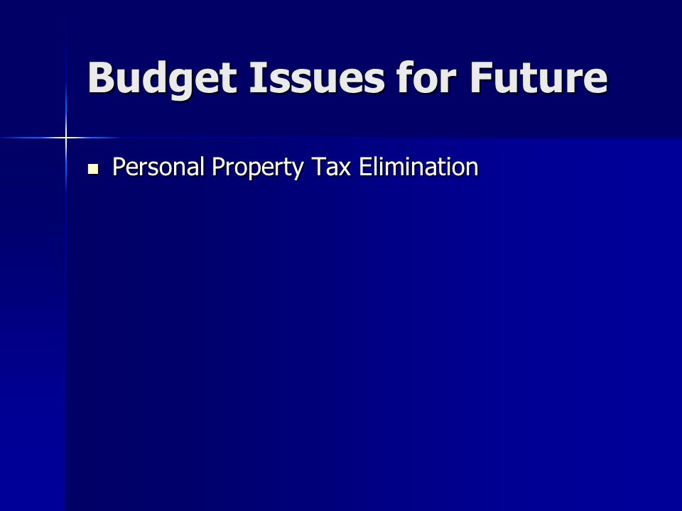 Budget Issues for Future Personal Property Tax Elimination Personal Property Tax Elimination