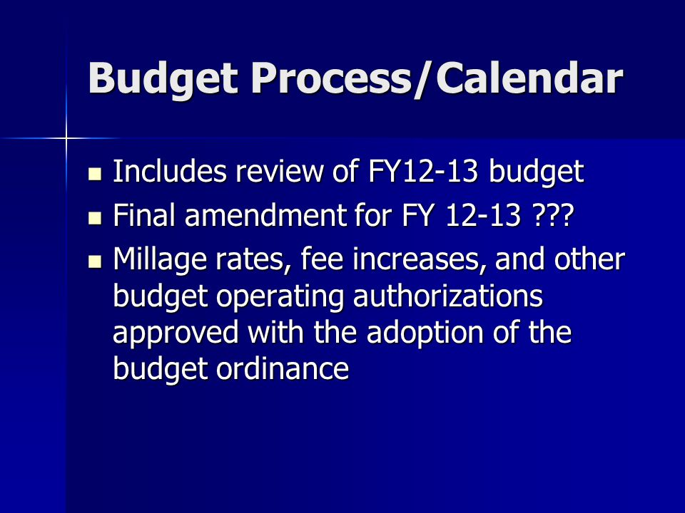 Budget Process/Calendar Includes review of FY12-13 budget Includes review of FY12-13 budget Final amendment for FY 12-13 .