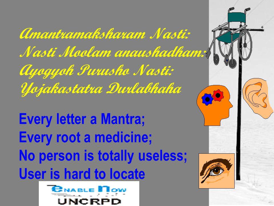 Amantramaksharam Nasti: Nasti Moolam anaushadham: Ayogyoh Purusho Nasti: Yojakastatra Durlabhaha Every letter a Mantra; Every root a medicine; No person is totally useless; User is hard to locate
