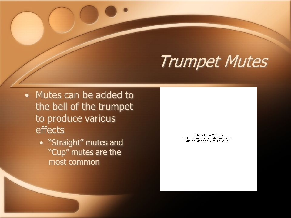 Trumpet Mutes Mutes can be added to the bell of the trumpet to produce various effects Straight mutes and Cup mutes are the most common Mutes can be added to the bell of the trumpet to produce various effects Straight mutes and Cup mutes are the most common