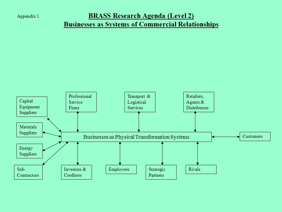 BRASS Research Agenda (Level 2) Businesses as Systems of Commercial Relationships Materials Suppliers EmployeesInvestors & Creditors Capital Equipment Suppliers Professional Service Firms Transport & Logistical Services Retailers, Agents & Distributors Customers Strategic Partners Rivals Energy Suppliers Sub- Contractors Businesses as Physical Transformation Systems Appendix 1.