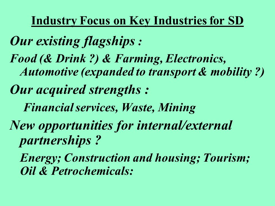 Industry Focus on Key Industries for SD Our existing flagships : Food (& Drink ) & Farming, Electronics, Automotive (expanded to transport & mobility ) Our acquired strengths : Financial services, Waste, Mining New opportunities for internal/external partnerships .