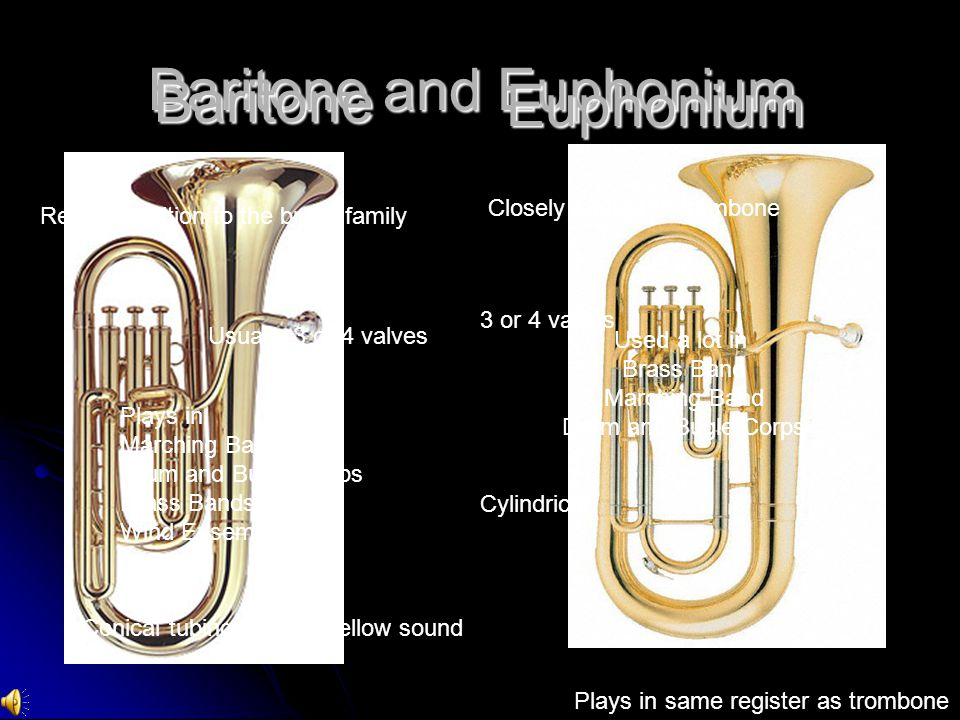 Baritone and Euphonium Baritone Closely related to trombone Cylindrical 3 or 4 valves Plays in same register as trombone Used a lot in Brass Band Marching Band Drum and Bugle Corps Euphonium Recent addition to the brass family Usually 3 or 4 valves Conical tubing makes mellow sound Plays in Marching Bands Drum and Bugle Corps Brass Bands Wind Ensembles
