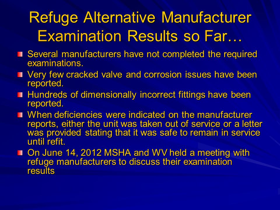 Refuge Alternative Manufacturer Examination Results so Far… Several manufacturers have not completed the required examinations.