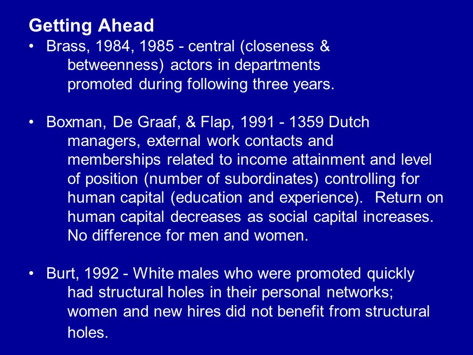 Getting Ahead Brass, 1984, 1985 - central (closeness & betweenness) actors in departments promoted during following three years. Boxman, De Graaf, & F
