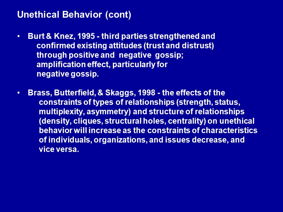 Unethical Behavior (cont) Burt & Knez, 1995 - third parties strengthened and confirmed existing attitudes (trust and distrust) through positive and ne