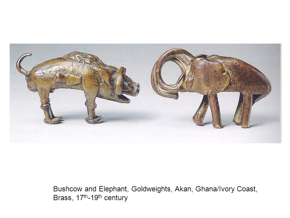 Bushcow and Elephant, Goldweights, Akan, Ghana/Ivory Coast, Brass, 17 th -19 th century