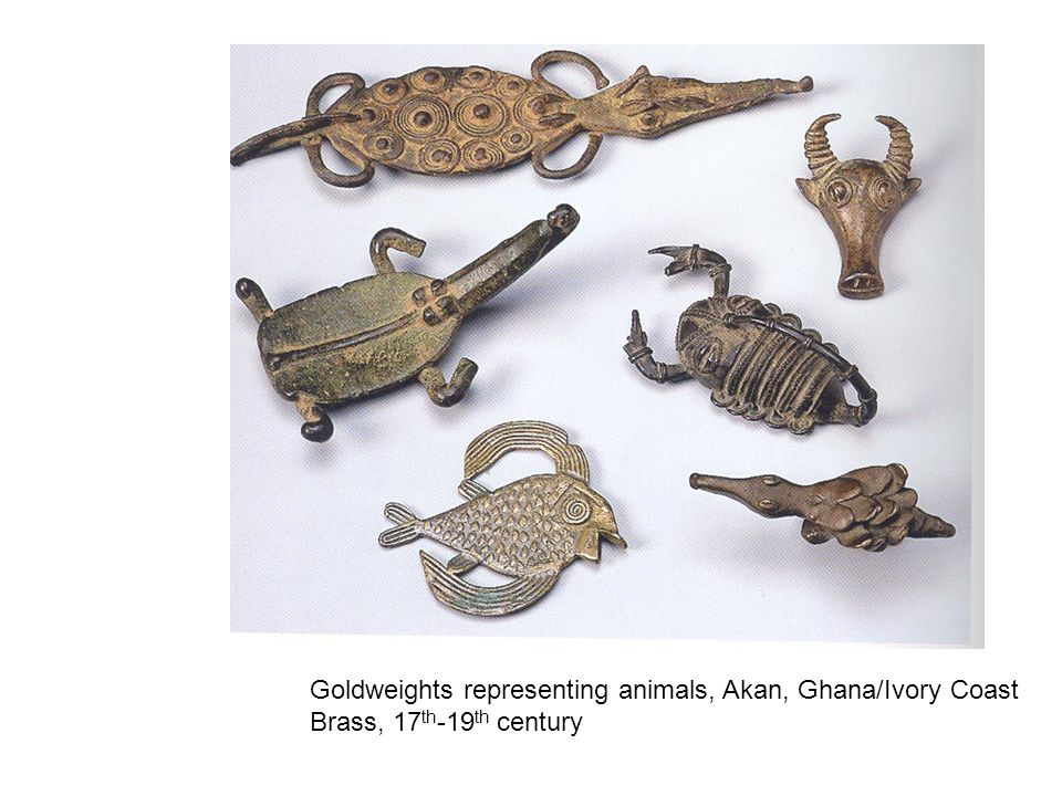 Goldweights representing animals, Akan, Ghana/Ivory Coast Brass, 17 th -19 th century
