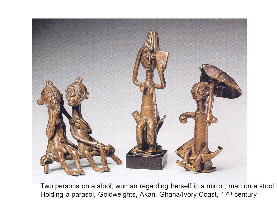 Two persons on a stool; woman regarding herself in a mirror; man on a stool Holding a parasol, Goldweights, Akan, Ghana/Ivory Coast, 17 th century