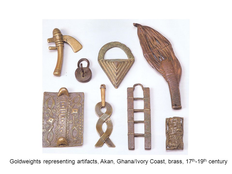 Goldweights representing artifacts, Akan, Ghana/Ivory Coast, brass, 17 th -19 th century