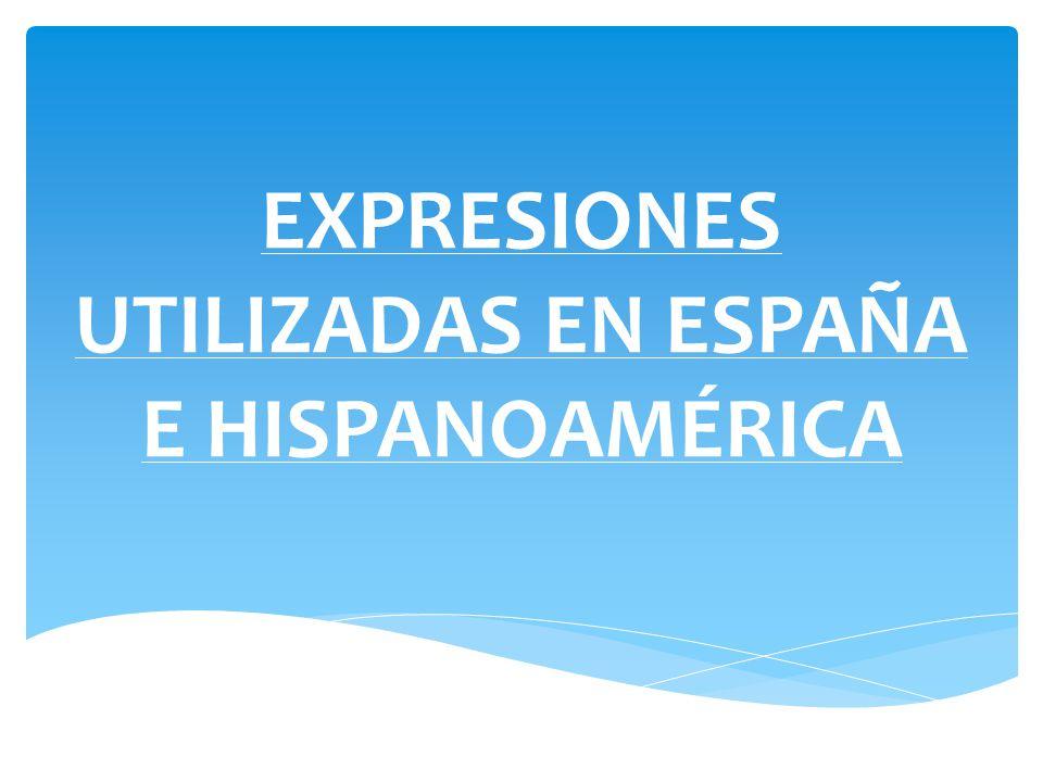 EXPRESIONES UTILIZADAS EN ESPAÑA E HISPANOAMÉRICA