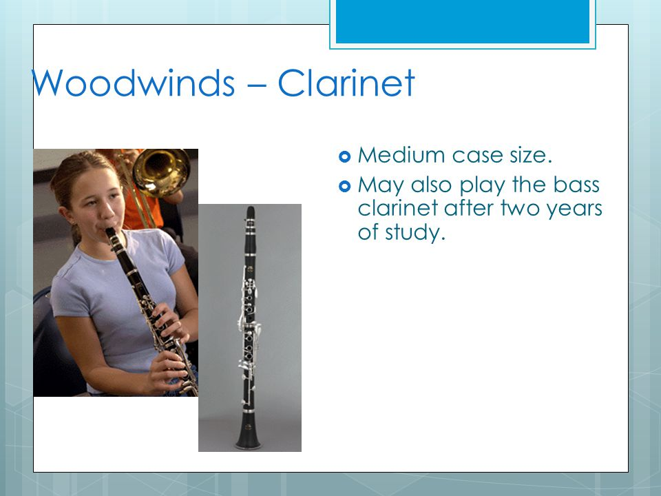 Woodwinds – Clarinet  Medium case size.  May also play the bass clarinet after two years of study.