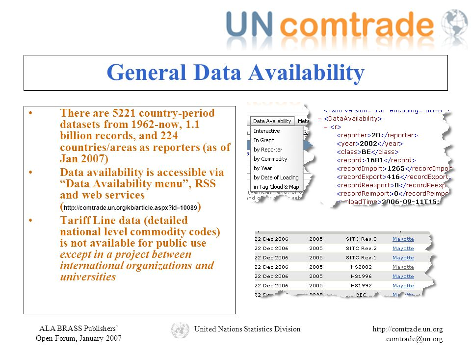 ALA BRASS Publishers' Open Forum, January 2007 United Nations Statistics Divisionhttp://comtrade.un.org comtrade@un.org General Data Availability There are 5221 country-period datasets from 1962-now, 1.1 billion records, and 224 countries/areas as reporters (as of Jan 2007) Data availability is accessible via Data Availability menu , RSS and web services ( http://comtrade.un.org/kb/article.aspx?id=10089 ) Tariff Line data (detailed national level commodity codes) is not available for public use except in a project between international organizations and universities