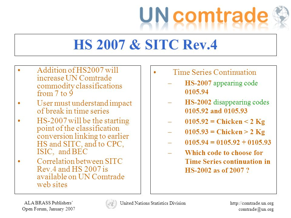 ALA BRASS Publishers' Open Forum, January 2007 United Nations Statistics Divisionhttp://comtrade.un.org comtrade@un.org HS 2007 & SITC Rev.4 Addition of HS2007 will increase UN Comtrade commodity classifications from 7 to 9 User must understand impact of break in time series HS-2007 will be the starting point of the classification conversion linking to earlier HS and SITC, and to CPC, ISIC, and BEC Correlation between SITC Rev.4 and HS 2007 is available on UN Comtrade web sites Time Series Continuation –HS-2007 appearing code 0105.94 –HS-2002 disappearing codes 0105.92 and 0105.93 –0105.92 = Chicken < 2 Kg –0105.93 = Chicken > 2 Kg –0105.94 = 0105.92 + 0105.93 –Which code to choose for Time Series continuation in HS-2002 as of 2007 ?