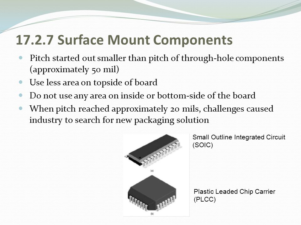 17.2.7 Surface Mount Components Pitch started out smaller than pitch of through-hole components (approximately 50 mil) Use less area on topside of boa