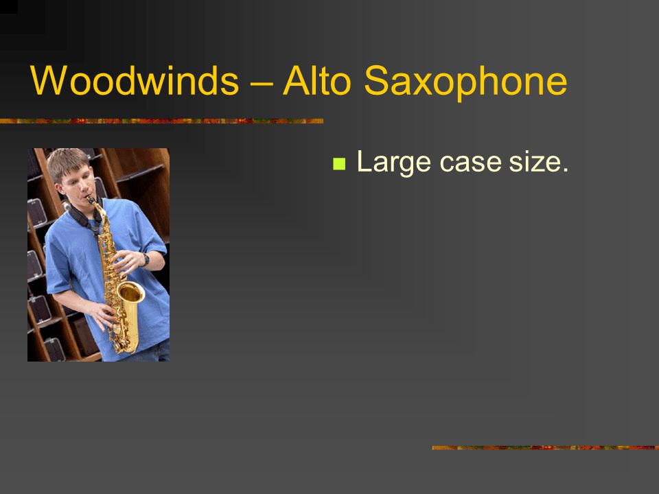 Woodwinds – Alto Saxophone Made of metal. Sound produced by blowing air over a wooden reed. Held with the aid of a neck strap.