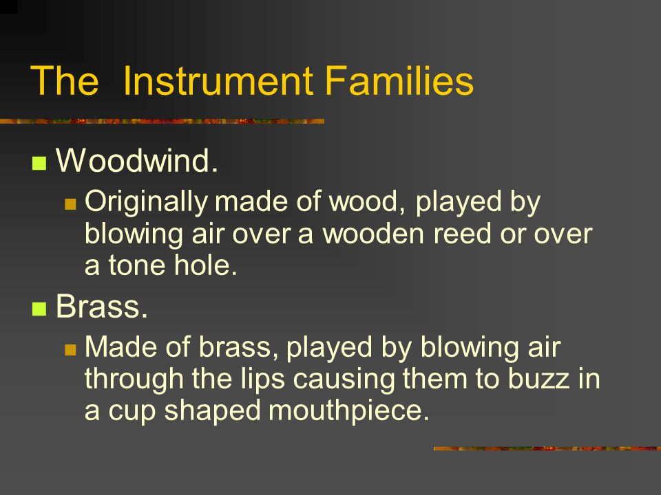 The Instrument Families Woodwind.