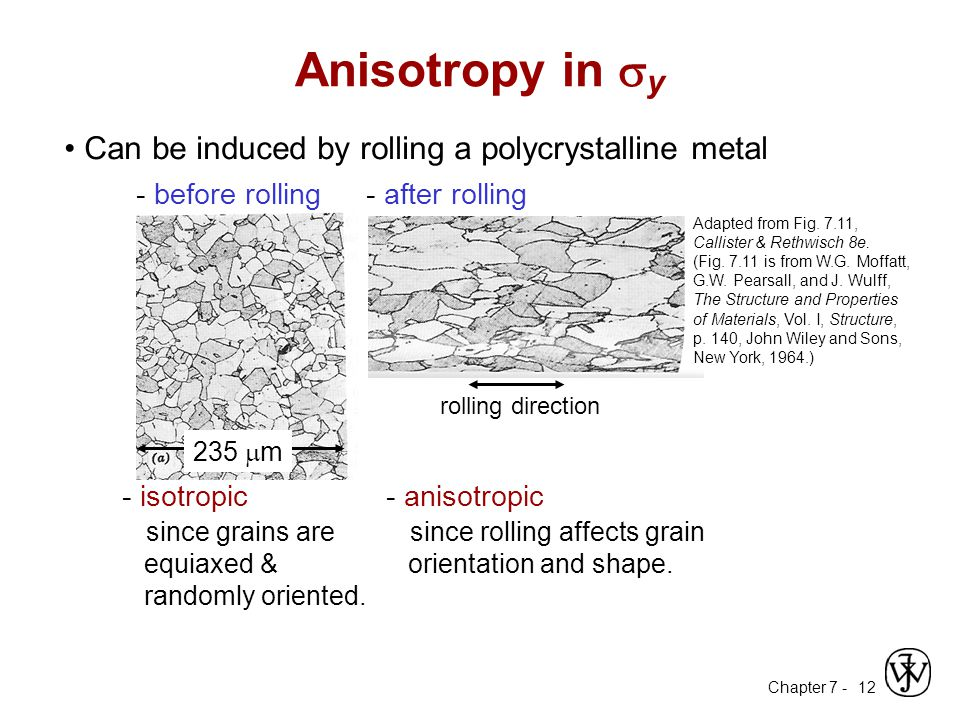 Chapter 7 - 12 Can be induced by rolling a polycrystalline metal - before rolling 235  m - after rolling - anisotropic since rolling affects grain orientation and shape.