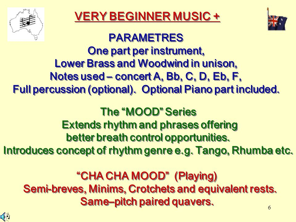 6 VERY BEGINNER MUSIC + PARAMETRES One part per instrument, Lower Brass and Woodwind in unison, Notes used – concert A, Bb, C, D, Eb, F, Full percussi