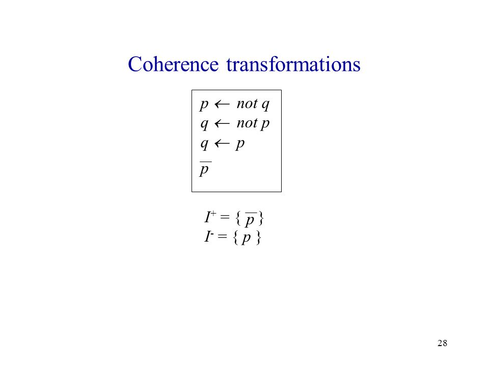 28 Coherence transformations p  not q q  not p q  p p I + = { } I - = { p } p