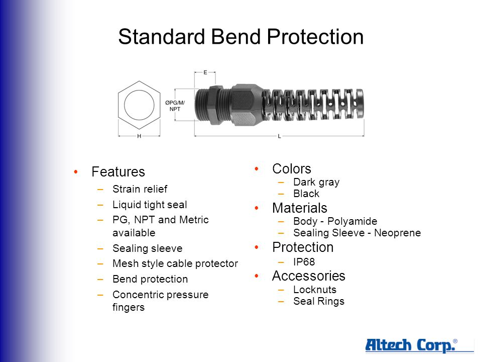 Standard Bend Protection Features –Strain relief –Liquid tight seal –PG, NPT and Metric available –Sealing sleeve –Mesh style cable protector –Bend protection –Concentric pressure fingers Colors –Dark gray –Black Materials –Body - Polyamide –Sealing Sleeve - Neoprene Protection –IP68 Accessories –Locknuts –Seal Rings