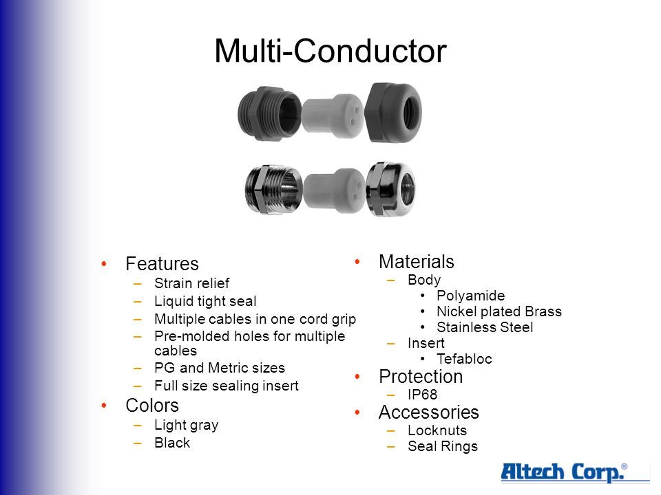 Multi-Conductor Features –Strain relief –Liquid tight seal –Multiple cables in one cord grip –Pre-molded holes for multiple cables –PG and Metric sizes –Full size sealing insert Colors –Light gray –Black Materials –Body Polyamide Nickel plated Brass Stainless Steel –Insert Tefabloc Protection –IP68 Accessories –Locknuts –Seal Rings