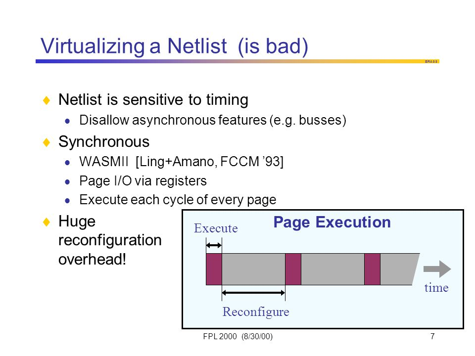 BRASS FPL 2000 (8/30/00)7 Virtualizing a Netlist (is bad)  Netlist is sensitive to timing  Disallow asynchronous features (e.g.