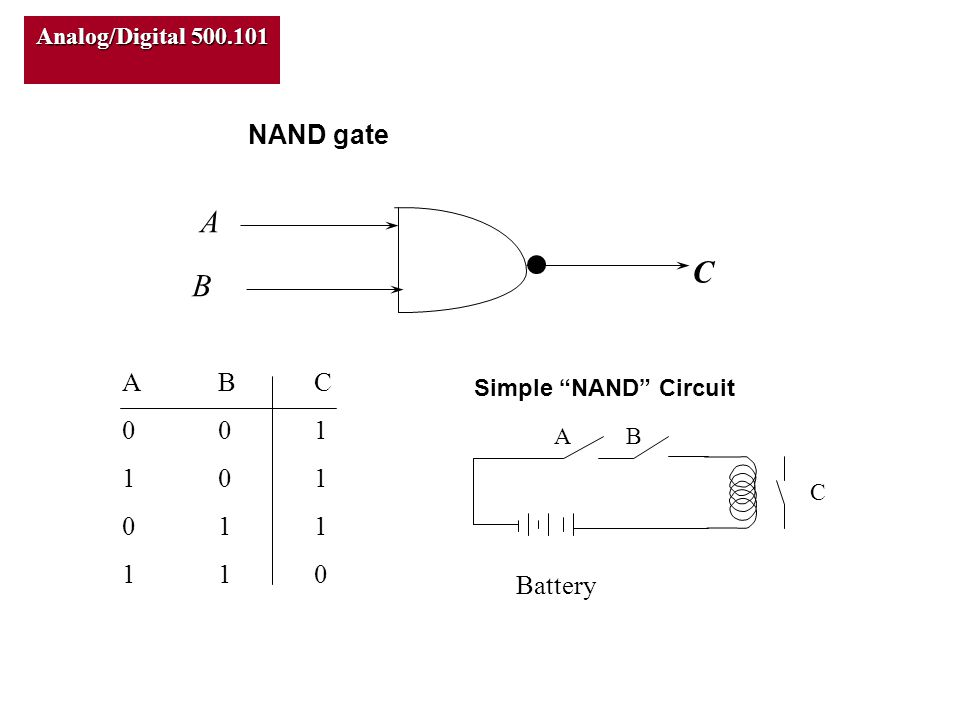 Analog/Digital 500.101 C A B ABC001101011110ABC001101011110 NAND gate Simple NAND Circuit Battery AB C