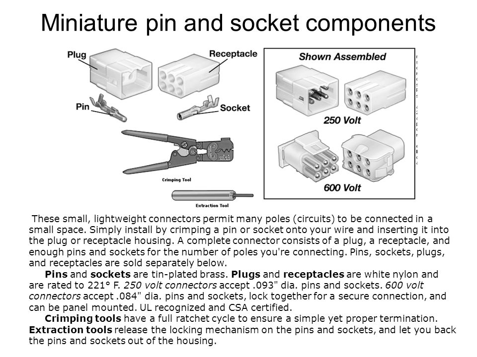 Miniature pin and socket components These small, lightweight connectors permit many poles (circuits) to be connected in a small space.