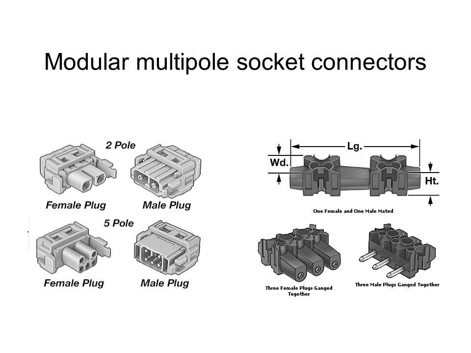 Modular multipole socket connectors