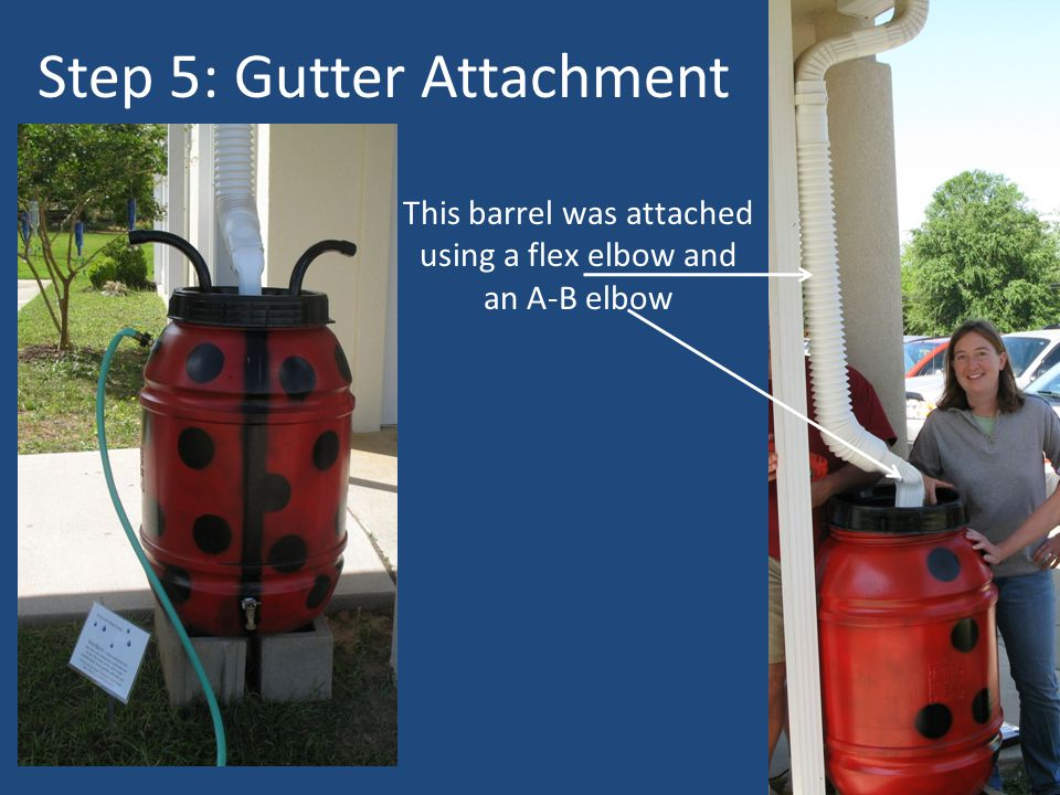 Step 5: Gutter Attachment This barrel was attached using a flex elbow and an A-B elbow