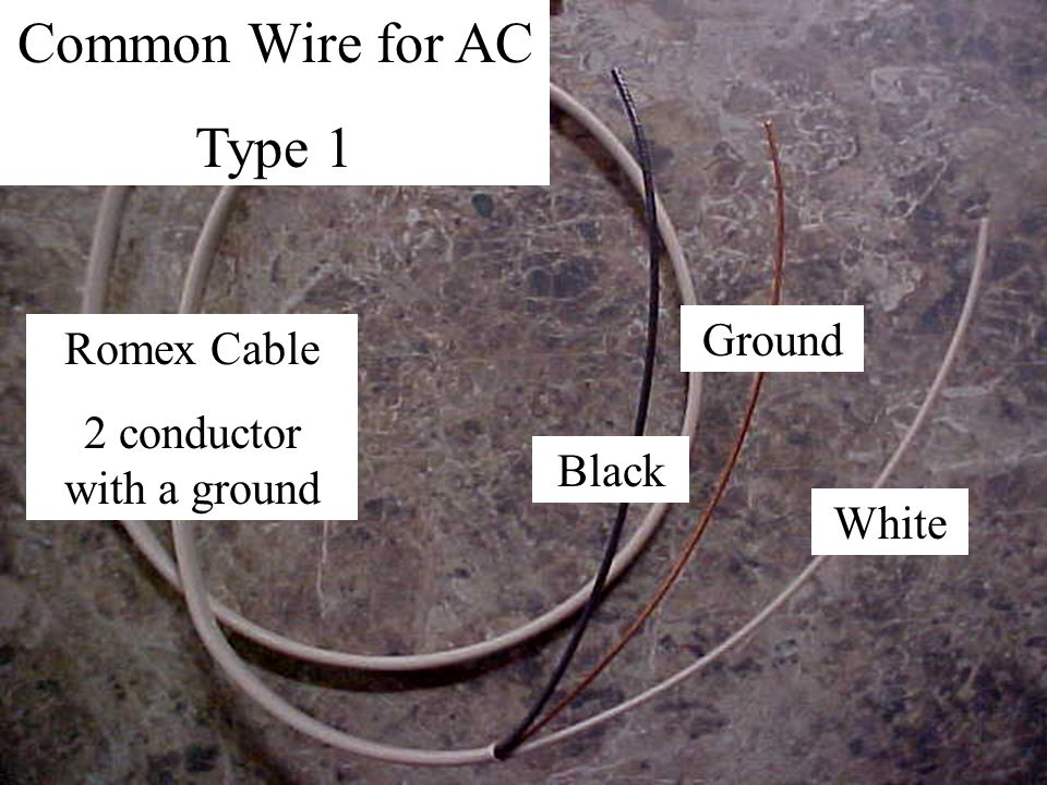 Common Wire for AC Type 1 Romex Cable 2 conductor with a ground Black Ground White