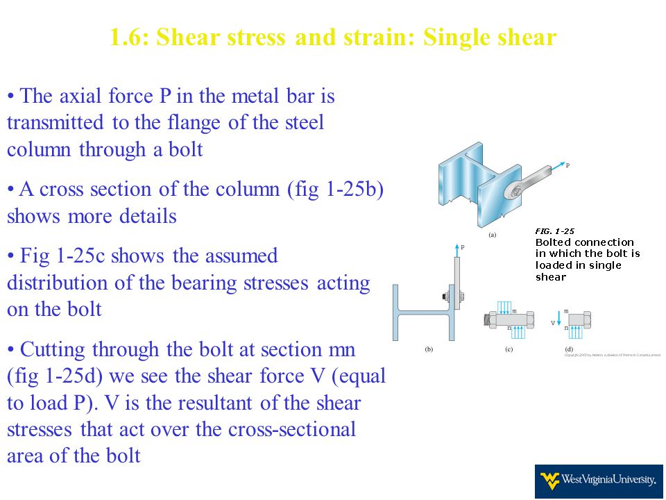 1.6: Shear stress and strain: Single shear The axial force P in the metal bar is transmitted to the flange of the steel column through a bolt A cross section of the column (fig 1-25b) shows more details Fig 1-25c shows the assumed distribution of the bearing stresses acting on the bolt Cutting through the bolt at section mn (fig 1-25d) we see the shear force V (equal to load P).