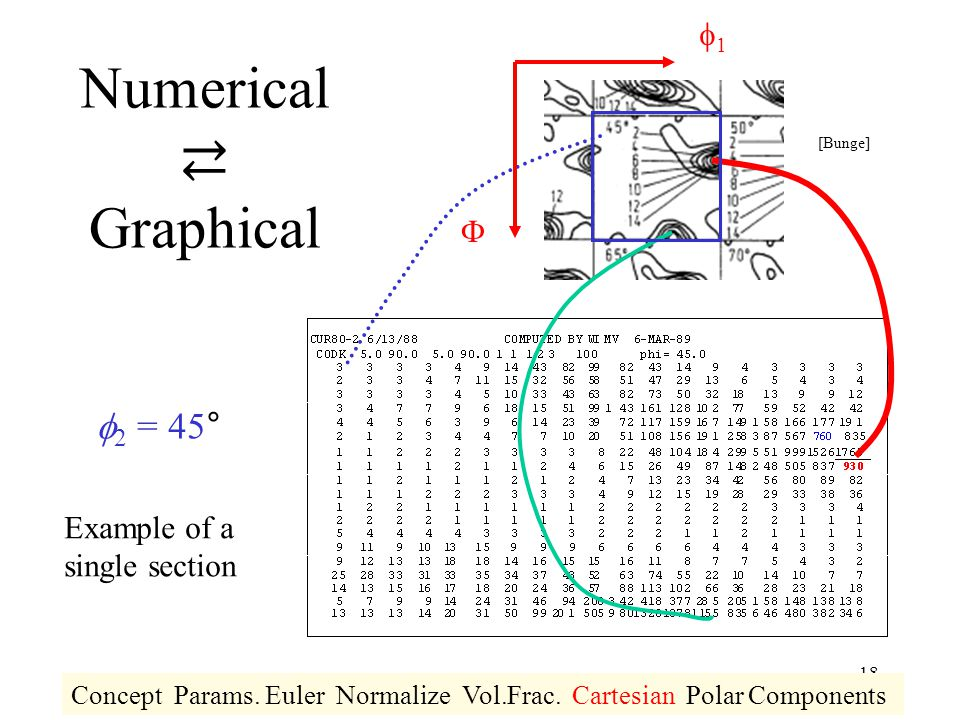 18 Numerical ⇄ Graphical 11   2 = 45° Example of a single section Concept Params. Euler Normalize Vol.Frac. Cartesian Polar Components [Bunge]