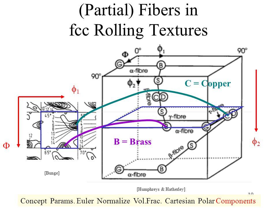 19 (Partial) Fibers in fcc Rolling Textures 11  22 C = Copper B = Brass Concept Params. Euler Normalize Vol.Frac. Cartesian Polar Components [Bun