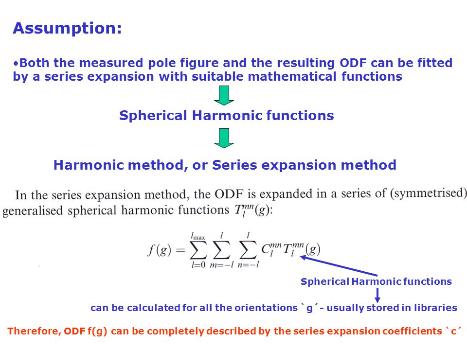 Assumption: Both the measured pole figure and the resulting ODF can be fitted by a series expansion with suitable mathematical functions Spherical Har
