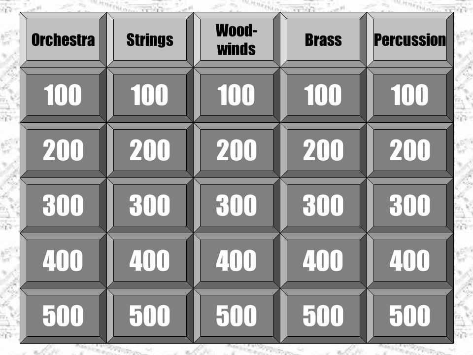 OrchestraStrings Wood- winds BrassPercussion 100 200 300 400 500 300 400 500 300 400 500 300 400 500 300 400 500
