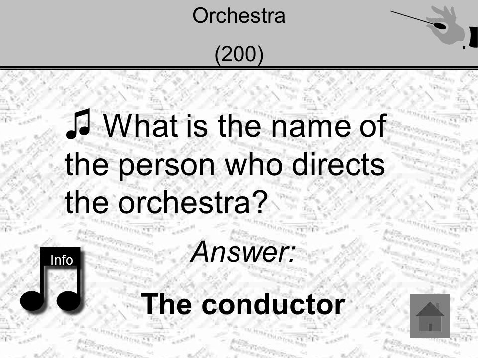 Orchestra (200) ♫ What is the name of the person who directs the orchestra? Info Answer: The conductor
