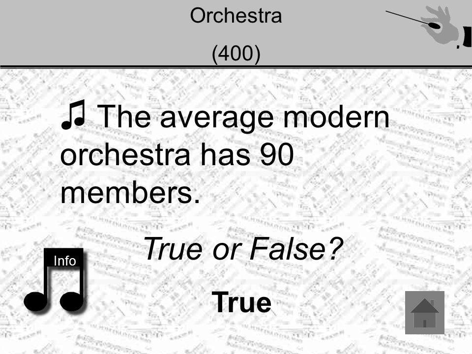 Orchestra (500) ♫ Where did the first orchestra begin? Info Answer: Egypt