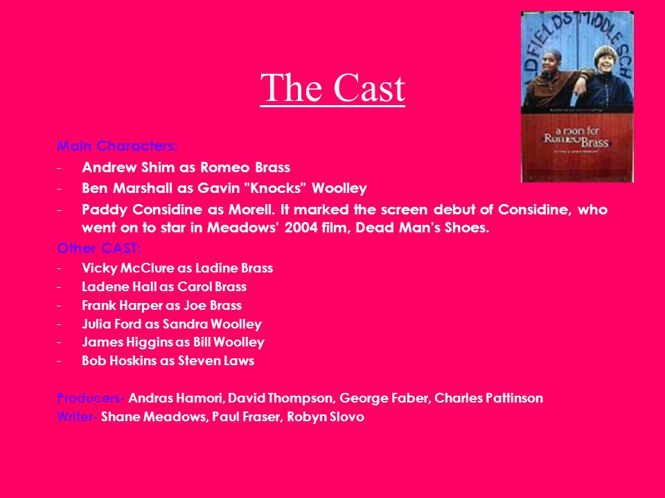 The Cast Main Characters: - Andrew Shim as Romeo Brass - Ben Marshall as Gavin