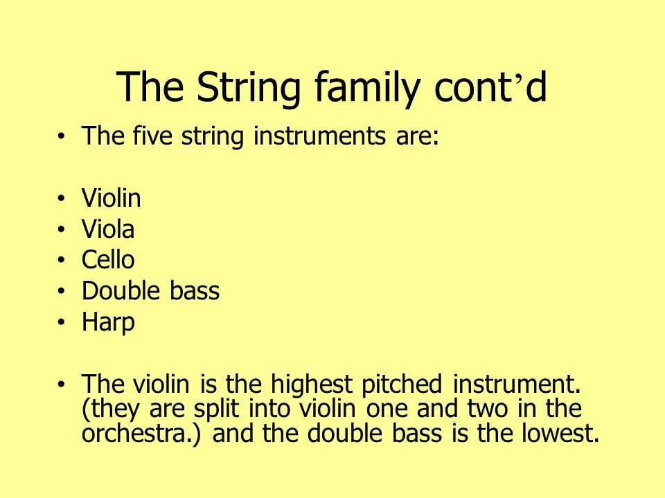The Violin and the Viola The violin is the highest instrument in the string family.