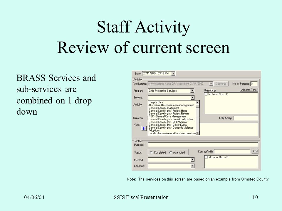 04/06/04SSIS Fiscal Presentation10 Staff Activity Review of current screen BRASS Services and sub-services are combined on 1 drop down Note: The servi