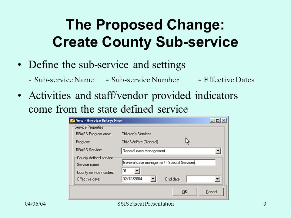 04/06/04SSIS Fiscal Presentation9 The Proposed Change: Create County Sub-service Define the sub-service and settings - Sub-service Name - Sub-service