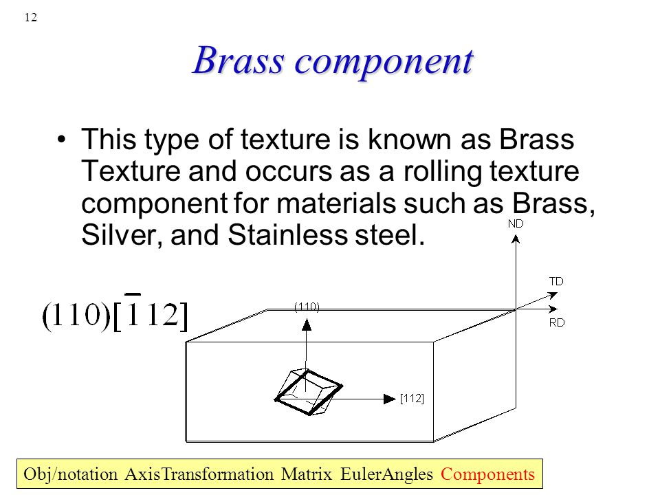 12 Brass component This type of texture is known as Brass Texture and occurs as a rolling texture component for materials such as Brass, Silver, and S