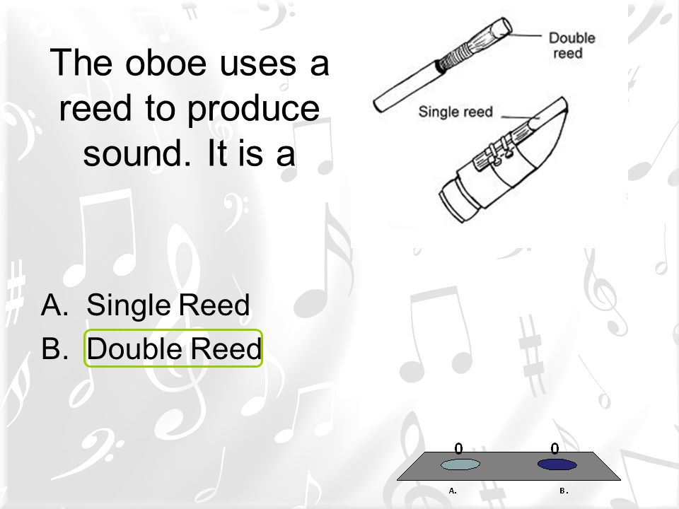 The oboe uses a reed to produce sound. It is a A.Single Reed B.Double Reed
