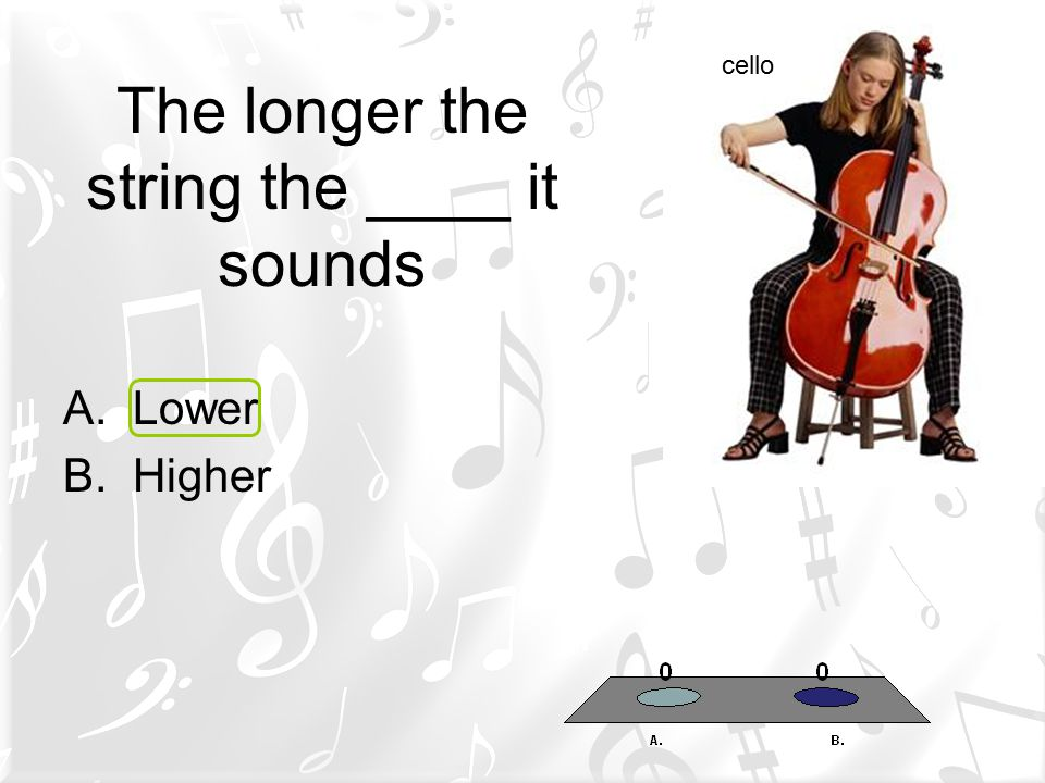 The longer the string the ____ it sounds A.Lower B.Higher cello